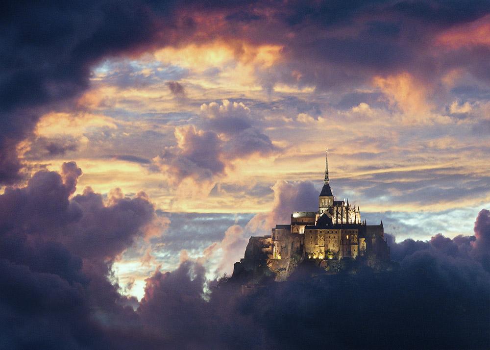 mont-saint-michel frankrike tavla motiv dwdesign